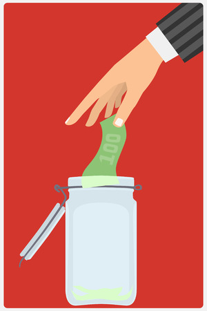 Flat design style vector illustration. Businessmans hand throwing a glass jar hundred-dollar bill. Financial concept. Isolated on red background Vector