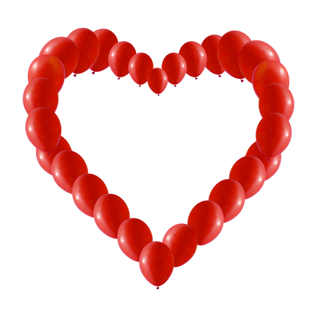 arranging: Background made of Red balloons in a heart shape