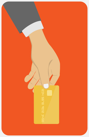 Hand holding credit card. Flat design style illustration. Isolated on red background 向量圖像
