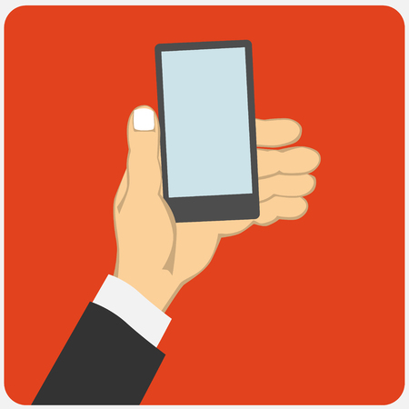 holding smart phone: Flat design style illustration. Business hand holding smart phone. Isolated on red background