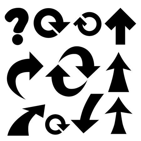 Set of black universal arrows and symbols. photo