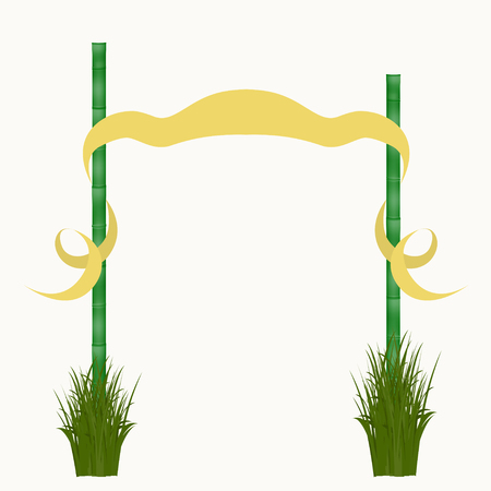 Signboard of the fabric and bamboo sticks. Vector illustration isolated on white background illustration