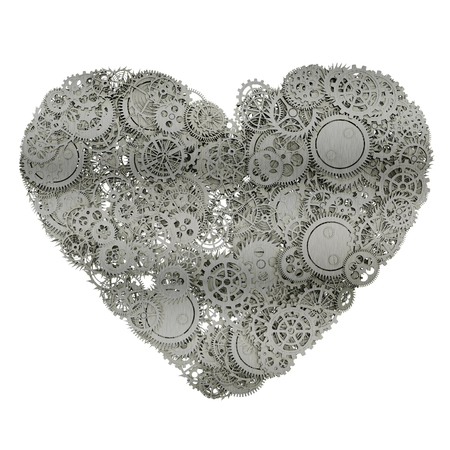 mariage: Heart made from gears. 3d illustration Stock Photo