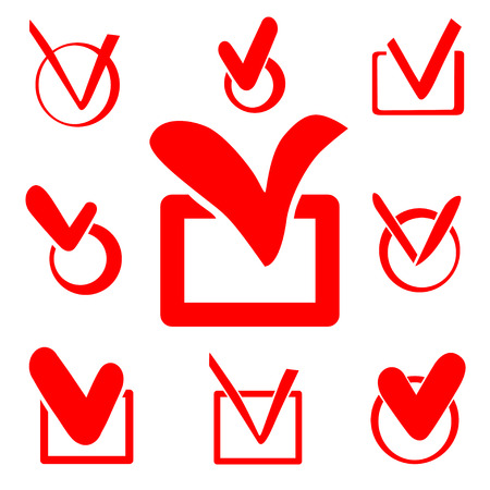 affirmative: Set of red Check box vector icons