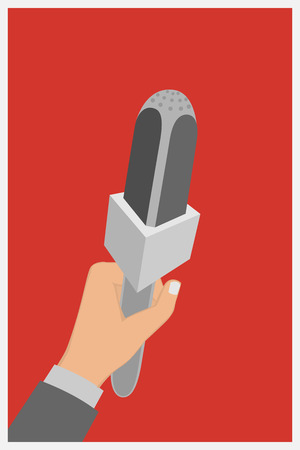 spokesperson: Hand holding a microphone, press conference, vector illustration of a flat icon.