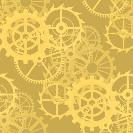 gearings: Gears on a golden background, seamless pattern. Illustration Stock Photo