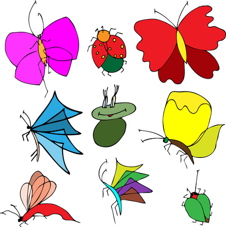 stick bug: Set of butterflies. Insects. Vector illustration.