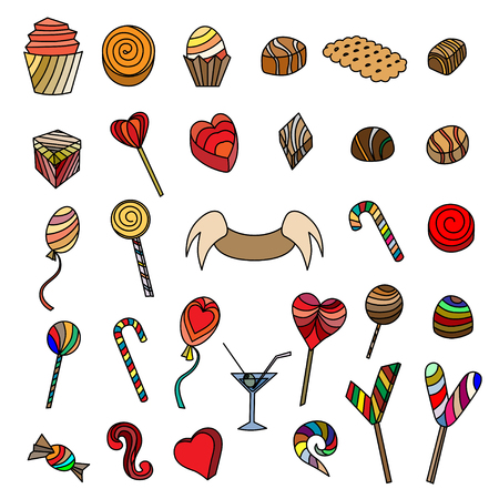 artsy: Cute doodle seamless pattern. Love and sweets.