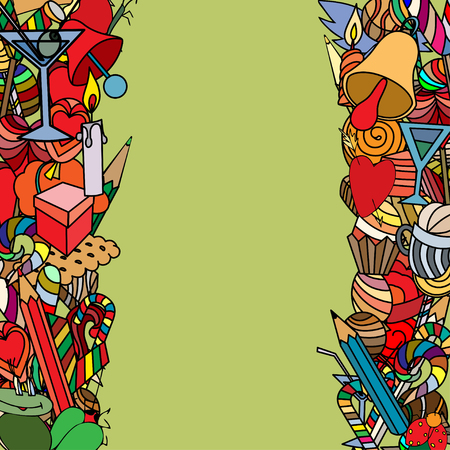 Background, doodle seamless pattern. Love and sweets. Vector