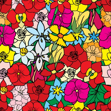Beautiful summer ornate from many flowers, seamless pattern. Vector illustration, drawn doodle Vector