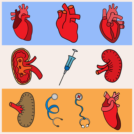 respiratory infection: set flat human organs icons illustration concept. Vector background design