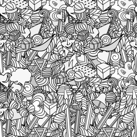 Cute doodle seamless pattern. Love and sweets. Vector
