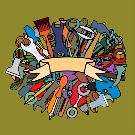 shove: Set of working tools, hammers, brushes, axes, wrenches, wire cutters, pliers. Doodle hand drawing decor