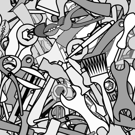shove: Background from working tools, hammers, brushes, axes, wrenches, wire cutters, pliers. Doodle hand drawing decor
