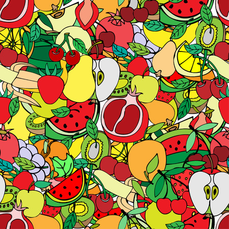 Seamless pattern with set of sweet fruits and berries. Apples, watermelon, grapes, bananas, kiwi, cherry. Food, fruit. Seamless texture. Doodle, cartoon drawing. Vector illustration Vector