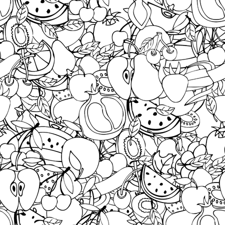 greengrocer: Seamless pattern with set of sweet fruits and berries. Apples, watermelon, grapes, bananas, kiwi, cherry. Food, fruit. Seamless texture. Doodle, cartoon drawing. Vector illustration