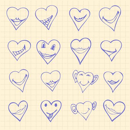 carita feliz: Colecci�n de diferentes s�mbolos del coraz�n del doodle, diferentes emociones. El cuadrado p�gina notebook iconos fondo Doodle conjunto de ilustraci�n vectorial