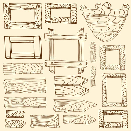 signposts: Set of wooden signposts. Hand-drawn Doodle.