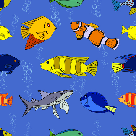Seamless pattern with hand drawn fish Vector