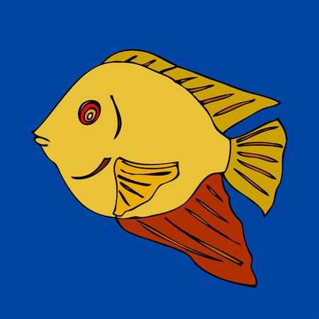 scalar: Tropical fish. VeIllustration. Isolated on blue Illustration