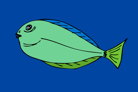 neon fish: Tropical fish. VeIllustration. Isolated on blue Illustration