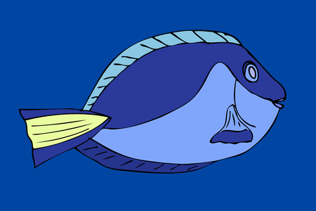 Tropical fish. VeIllustration. Isolated on blue Vector