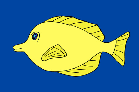 Tropical fish. VeIllustration. Isolated on blue Illustration