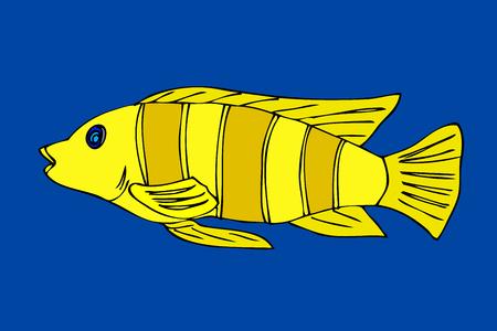 neon fish: Tropical fish. VeIllustration. Isolated on blue Illustration