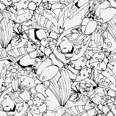 beetles: Background of the insects: butterflies, beetles, larvae, seamless pattern. illustration, drawn doodle
