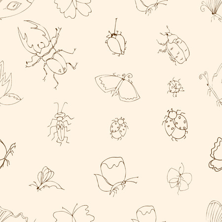 stick bug: Background of the insects: butterflies, beetles, larvae, seamless pattern. illustration, drawn doodle