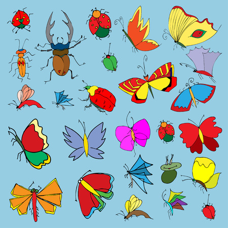 Set of butterflies and bugs. Insects. Vector illustration. Vector