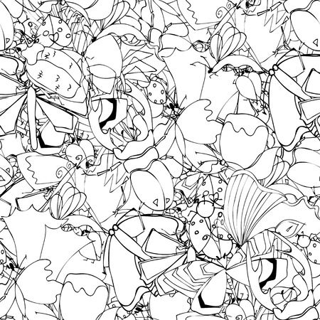 larvae: Background of the insects: butterflies, beetles, larvae, seamless pattern. illustration, drawn doodle