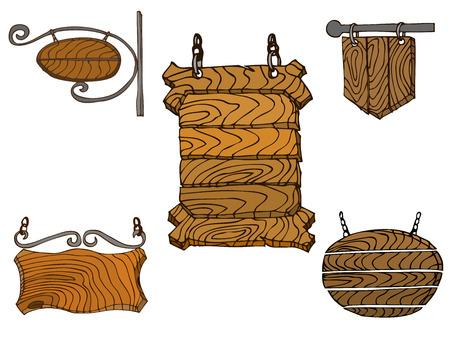 signposts: Set of wooden signposts. Hand-drawn Doodle. Vector illustration