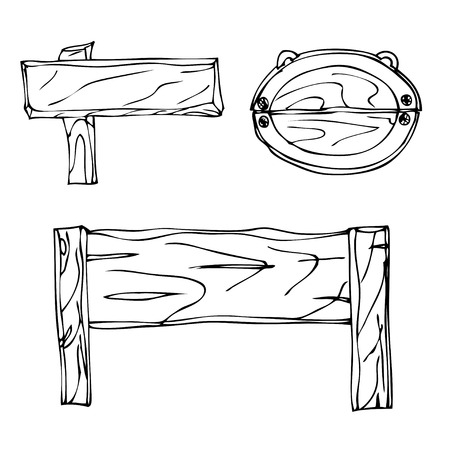 guidepost: Set of Vector Single Sketch Signpost