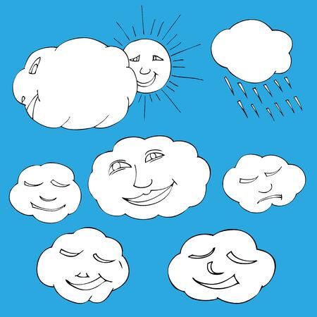 Cute doodle of sky elements: sun, clouds. Vector illustration Vector