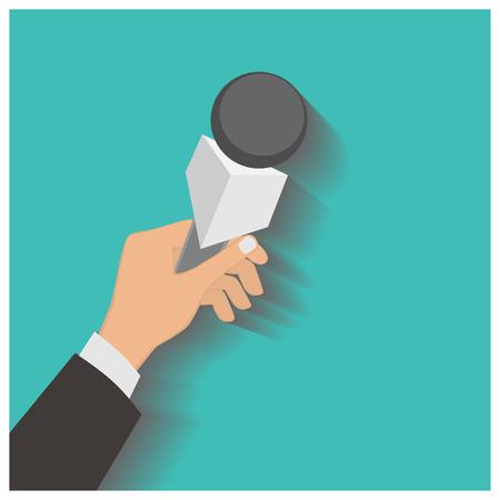 rueda de prensa: Mano que sostiene un micr�fono, rueda de prensa, ilustraci�n vectorial de un icono de plano.