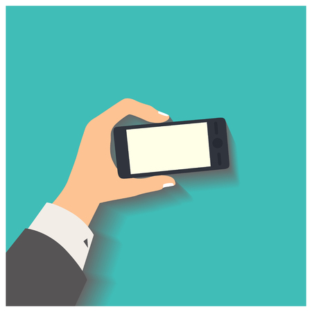 holding smart phone: Flat design style vector illustration. Business hand holding smart phone. Isolated on green background