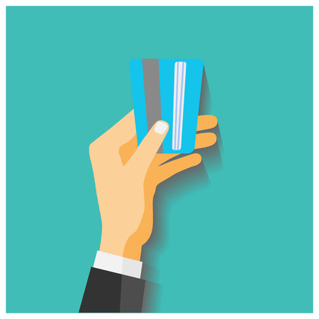hold: Flat design style illustration. Hand hold credit card to pay