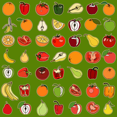 vegetation: Collection of a set of cute vector illustration fruits and vegetation. Isolated on green