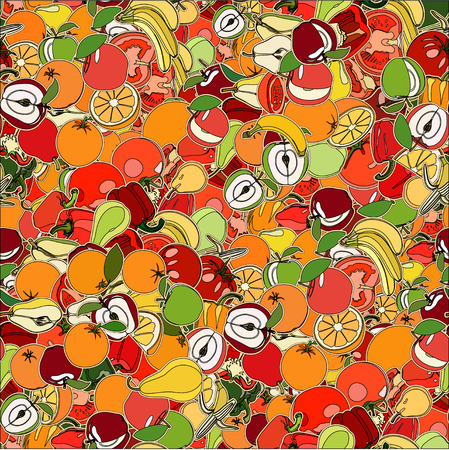 Seamless pattern with set of fruits and vegetation. Seamless texture. Doodle, cartoon drawing. Vector illustration Vector