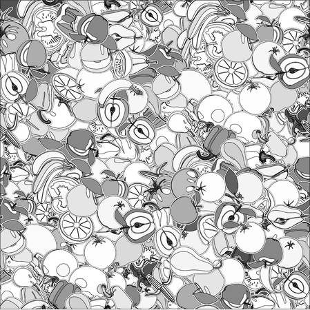 grocer: Seamless pattern with set of fruits and vegetation. Seamless texture. Doodle, cartoon drawing. Vector illustration