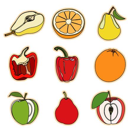 vegetation: Collection of a set of cute vector illustration fruits and vegetation.