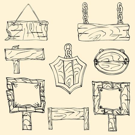 Set of wooden signposts. Hand-drawn Doodle. Vector illustration Vector