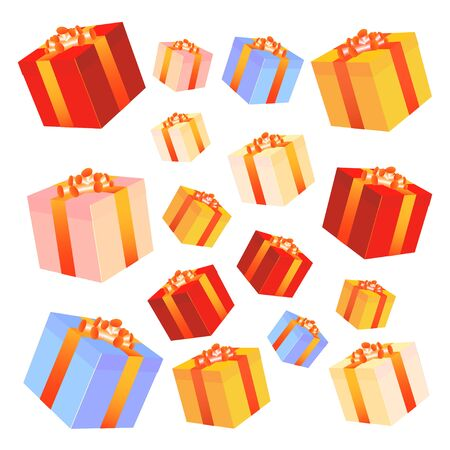Set of colorful vector gift boxes with bows and ribbons. Vector