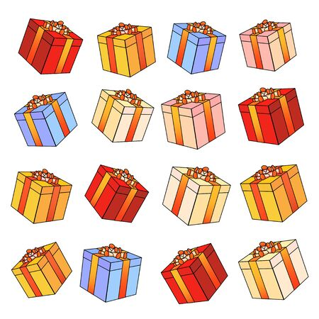 ribbons and bows: Set of colorful vector gift boxes with bows and ribbons.