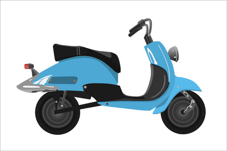 chromeplated: Retro scooter, blue with the chromeplated elements