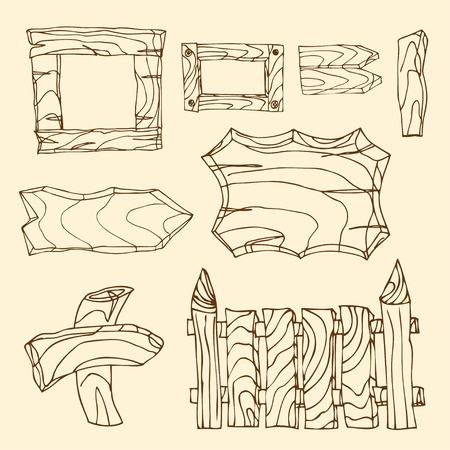 signposts: Set of wooden signposts. Hand-drawn