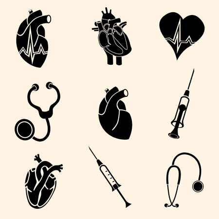 auscultation: Cardiology. Heart doctor vector icon