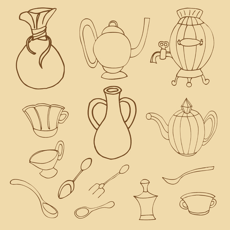Cooking & Backing flat doodle set icons, Kitchenware stylish design vector elements isolated Vector