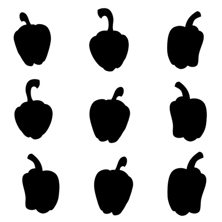 Peppers silhouettes. Vector illustration Illustration